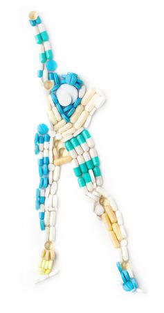 carrera de relevos: Doping medicamentos en la forma de un patinador de hielo de velocidad en una pista de hielo corriendo hacia adelante. Foto de archivo