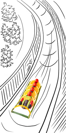 bobsleigh: Fruits and vegetables in the shape of a four-man bobsleigh team sledding the iced track.