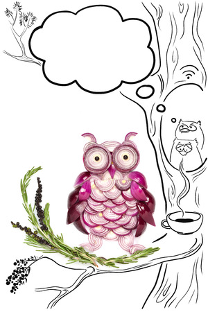 Food concept of funny owls made of onions and a drawing of coffee and wifi spot. photo