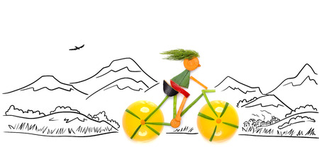 Fruits and vegetables in the shape of a female cyclist riding a bike in the country.