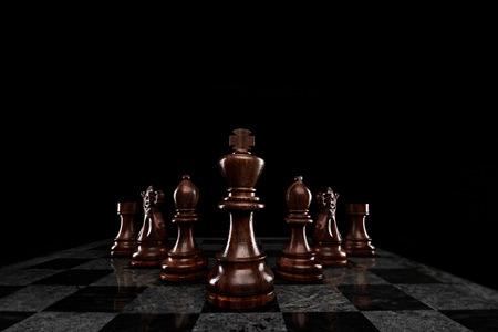 7 チェスの駒、王によって鉛の分隊。