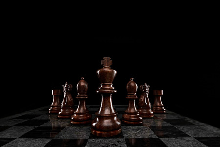squad: A squad of 7 chess pieces leaded by the king. Stock Photo