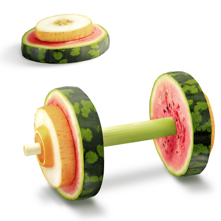 The photo of sport equipment made of healthy fruits full of vitamins.