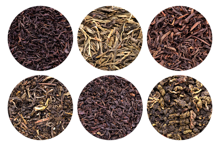 Collection of 6 different tea types isolated on white background.