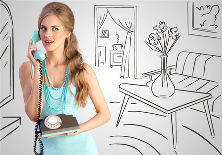 retro housewife: Creative photo of a pretty pin-up girl speaking via vintage phone on a home sketchy background.