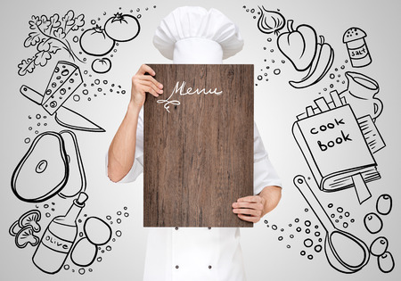Restaurant chef on a sketchy hiding behind a wooden chopping board for a business lunch menu with prices.