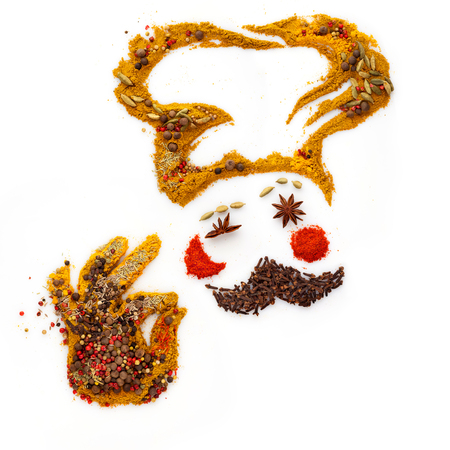 Funny cook made of different spices and seasoning mix showing an a-ok gesture, isolated on white.