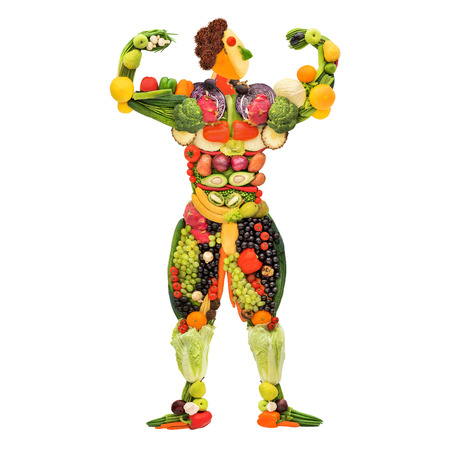 Fruits and vegetables in the shape of a healthy posing muscular bodybuilder.