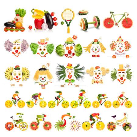 ピエロとは食品の概念の創造的なメニュー セット スポーツ機器と自転車の野菜や果物、白で隔離されます。 写真素材
