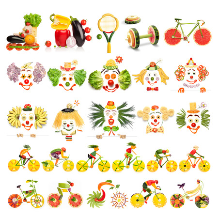 Creative menu set of food concepts with clowns, sports equipment and cyclists made of vegetables and fruits, isolated on white.