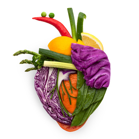 anatomy art: A healthy human heart made of fruits and vegetables as a food concept of smart eating.
