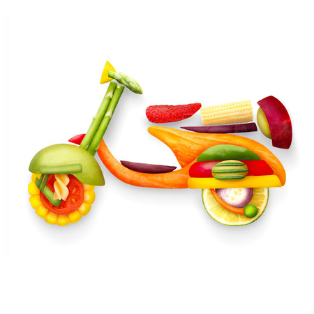 A food concept of a classic retro scooter Vespa for summer travelling made of fruits and vegs isolated on white. Stock Photo