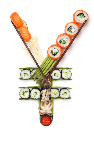 yen sign: A stillife of yen sign made of sushi. Stock Photo