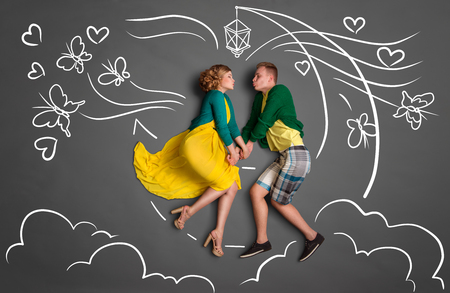 Happy valentines love story concept