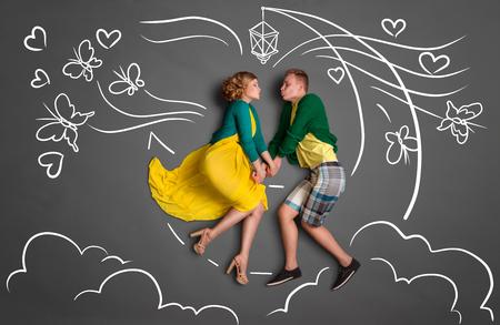 Lycklig valentines kärlekshistoria koncept Stockfoto