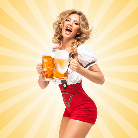 sexy nude women: Beautiful tempting sexy woman wearing red jumper shorts with suspenders in a form of a traditional dirndl, serving two beer mugs on colorful abstract cartoon style background.