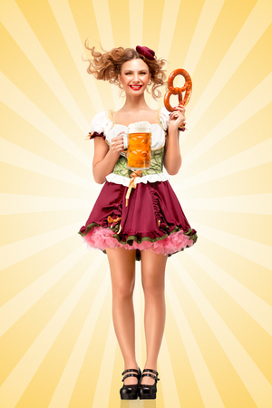 tavern: Beautiful sexy Oktoberfest waitress, wearing a traditional Bavarian dress dirndl and serving a pretzel and beer mug in a tavern on colorful abstract cartoon style background.