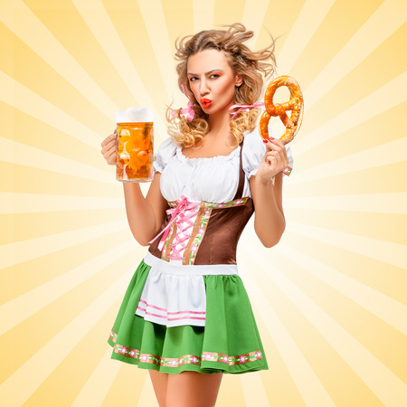 clothes cartoon: Offended sexy Oktoberfest woman wearing a traditional Bavarian dress dirndl posing with a pretzel and beer mug in hands on colorful abstract cartoon style background.