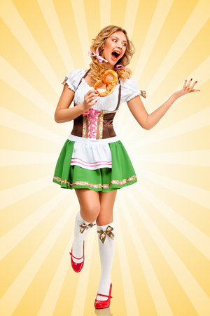 german beer: Sexy Oktoberfest woman wearing a traditional Bavarian dress dirndl dancing with a pretzel in hands on colorful abstract cartoon style background.