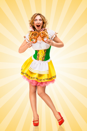 sexy women: Happy excited sexy Oktoberfest woman wearing a traditional Bavarian dress dirndl holding two pretzels on colorful abstract cartoon style background.