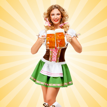 cute girl: Beautiful sexy Oktoberfest woman wearing a traditional Bavarian dress dirndl serving two beer mugs with happy smile on colorful abstract cartoon style background. Stock Photo