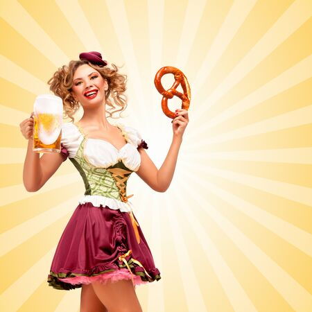 sexy costume: Beautiful sexy Oktoberfest waitress wearing a traditional Bavarian dress dirndl holding a pretzel and beer mug, and smiling happily on colorful abstract cartoon style background.