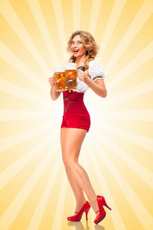 girl mouth: Beautiful excited sexy woman wearing red jumper shorts with suspenders as traditional dirndl, serving two beer mugs with smile on colorful abstract cartoon style background.