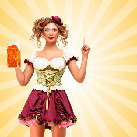 party cartoon: Beautiful smiling sexy Oktoberfest waitress wearing a traditional Bavarian dress dirndl holding a beer mug, and coming up with idea on colorful abstract cartoon style background.