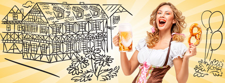 timber frame: Sexy Oktoberfest woman wearing a traditional Bavarian dress dirndl holding a pretzel and beer mug and laughing on sketchy Timber Frame Road background.
