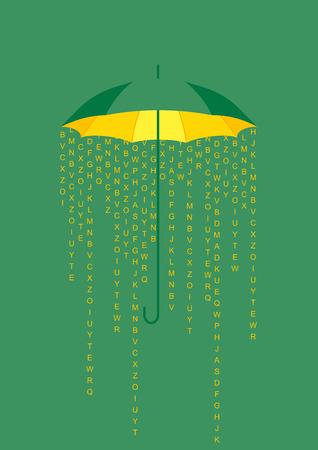 tormenta: Concepto del paraguas de fondo, tarjeta de felicitación con la lluvia de letras e información, que cae bajo el paraguas abierto.