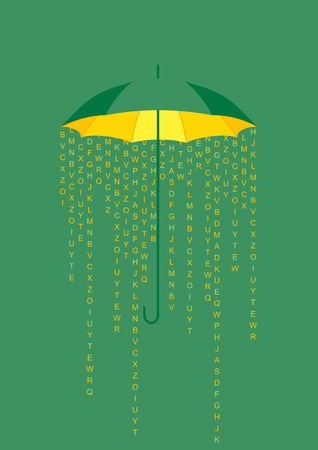 storms: Umbrella background concept, greeting card with rain of letters and information, falling under open umbrella. Illustration