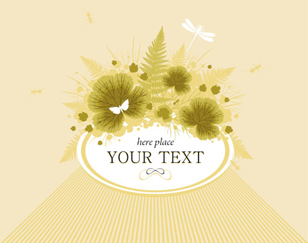 dry flowers: Floral greeting or invitation card with sample text for congratulation words, green dry flowers and leaves in bouquet.