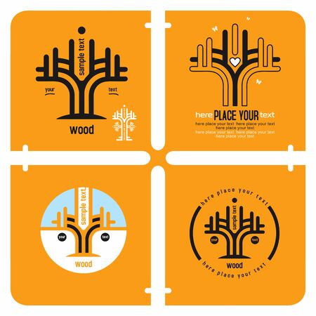 stability: Conceptual set of tree icons design elements, growth and stability wood concept with sample text against orange background.