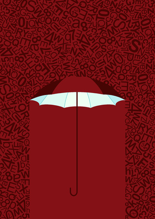 umbrella background, greeting card with rain of letters, no rain and text under open umbrella.