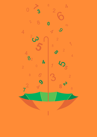 collecting: umbrella background, greeting card with rain of numbers, collecting numbers with umbrella upside-down as security concept. Illustration