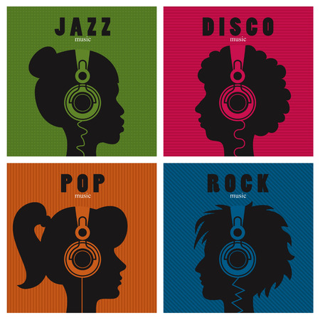 people listening: Conceptual set of head profiles with headphones icons; people listening to different genres of music.