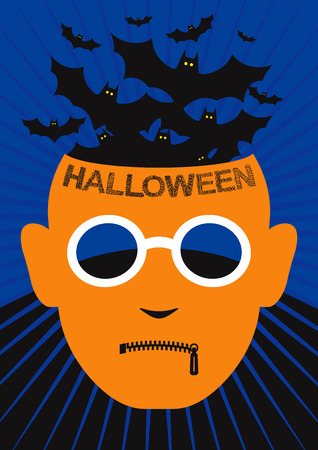 horror face: Halloween background and greeting or invitation card with orange horror face, zipper on lips, glasses and bats flying out of head against dark background. Illustration