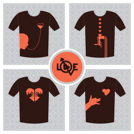 unrequited love: Conceptual set of t-shirt print design elements, unrequited love concept with broken heart.