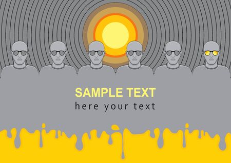 lp: Conceptual of LP vinyl record album cover, music like a sunlight and mirror of people souls, space for sample text. Illustration