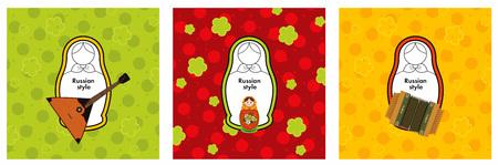 muñecas rusas: conjunto conceptual de muñecas rusas Matryoshka iconos, elementos de diseño de logotipo, el concepto de estilo ruso con el texto de la muestra contra el fondo del ornamento.