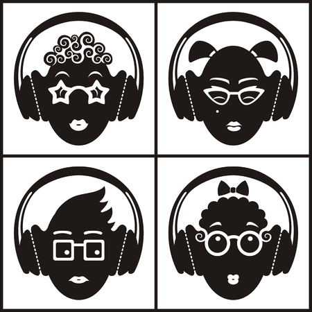 music background: Conceptual icon set of funny emoticons with headphones; vector print illustration of heads listening to different music and making grimaces. Illustration