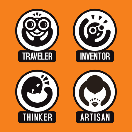 personality: Conceptual set of creative cartoon emoticon icons; vector print illustration of different human types and personality, traveler, inventor, thinker and artisan. Illustration