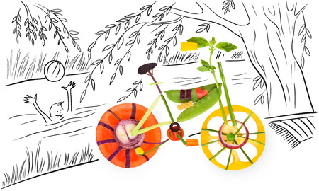 summer sport: Healthy food concept of a fixed gear bicycle made of fresh vegetables full of vitamins, standing against sketchy background of a summer river and a happy child playing ball.