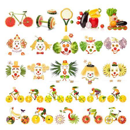 sportsman: conjunto de menús creativa de conceptos de alimentos con payasos, artículos deportivos y ciclistas hechas de verduras y frutas, aislado en blanco.
