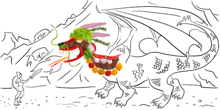 spit: Food concept of a mythological Chinese dragon made of spices, emitting fire from its mouth, fighting against a brave hero against sketchy mountain background.