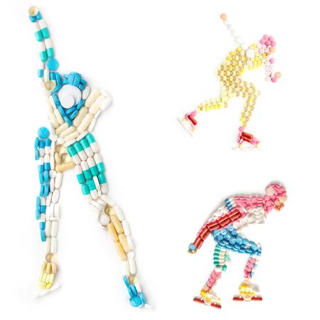 forme et sante: Creative icône ensemble de concept de santé et de sport avec le dopage des médicaments sous la forme d'un rouleau de patineur de vitesse et de la glace rouleau patineur sur piste.