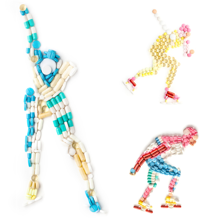 sports track: Creative icon set of health and sports concept with doping drugs in the shape of a speed roller skater and ice roller skater on track.