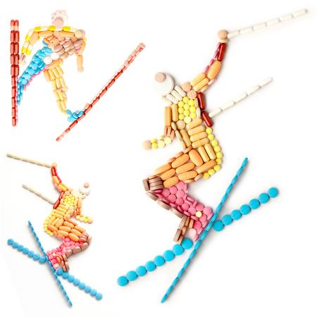 forme et sante: Creative icône ensemble de concept de santé et de sport avec le dopage pilules dans la forme d'un skieur professionnel dans un long saut en hauteur, isolé sur blanc. Banque d'images