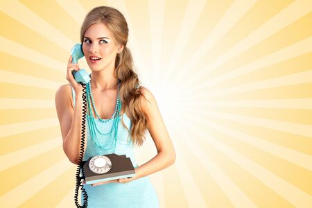 vintage phone: Creative photo of a pretty pin-up girl speaking via vintage phone on colorful abstract cartoon style background.