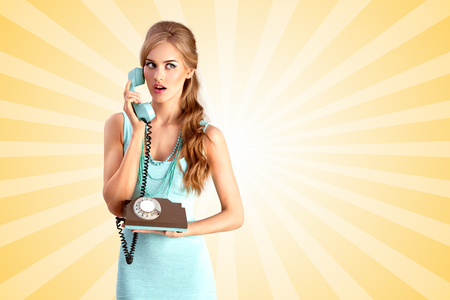 homemaker: Creative photo of a pretty pin-up girl speaking via vintage phone on colorful abstract cartoon style background.